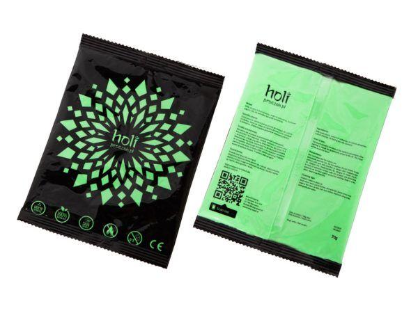 www.holiproszek.pl - Neon Green Zielony Neonowy UV 70g. Proszek Holi w kolorze fluorescencyjnego, świecącego w świetle ultrafioletowym (UV) neonowego zielonego. Wysyłka w 24h