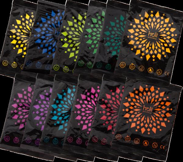 Zestaw 12 kolorów proszku Holi - 12 x 70g. Różne kolory. Kolorowy proszek Holi. Niska cena. Wysyłka w 24h. Zamów kolorowy proszek Holi od holiproszek.pl.
