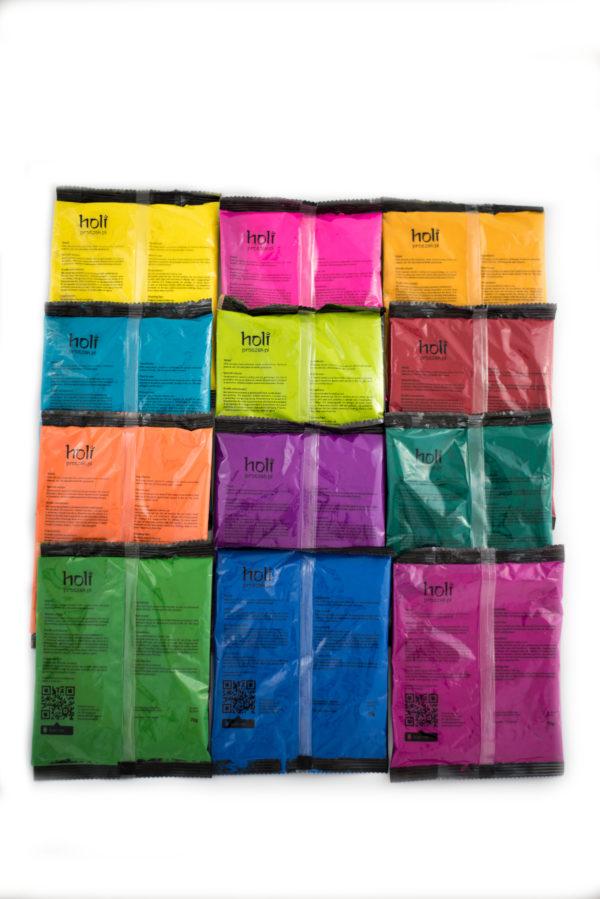 holi powder A set of twelve colors Zestaw 12 kolorów