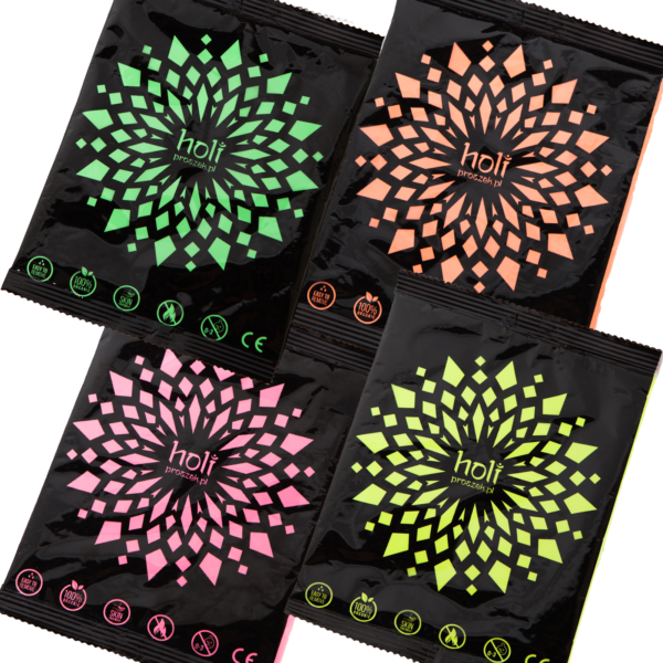 holi powder A set of four colors Zestaw 4 kolorów neonowych UV
