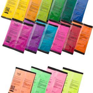 Zestaw 16 kolorów proszku Holi - 16 x 70g. Różne kolory. Kolorowy proszek Holi. Niska cena. Wysyłka w 24h. Zamów kolorowy proszek Holi od holiproszek.pl.